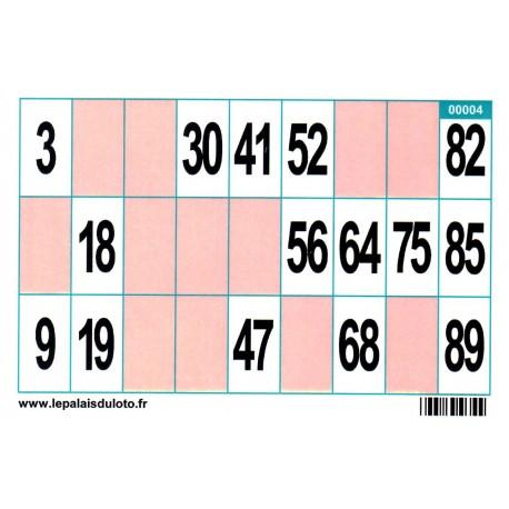 100 très grands cartons de loto Bristol avec cases en couleur 250 g, spécial seniors