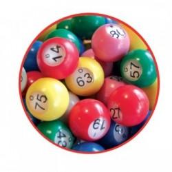 90 boules de loto multicolores Ø 18 mm