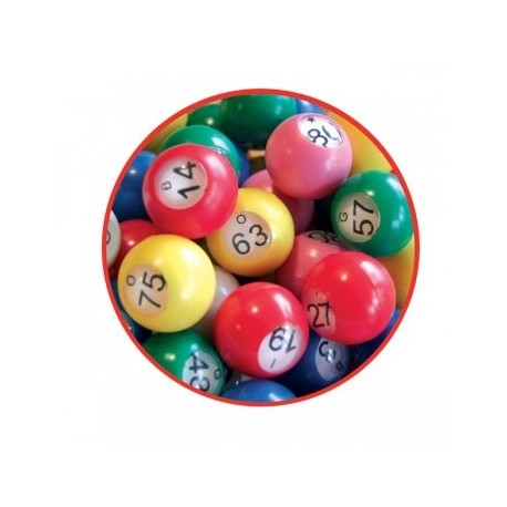 90 boules de loto multicolores ø 22 mm