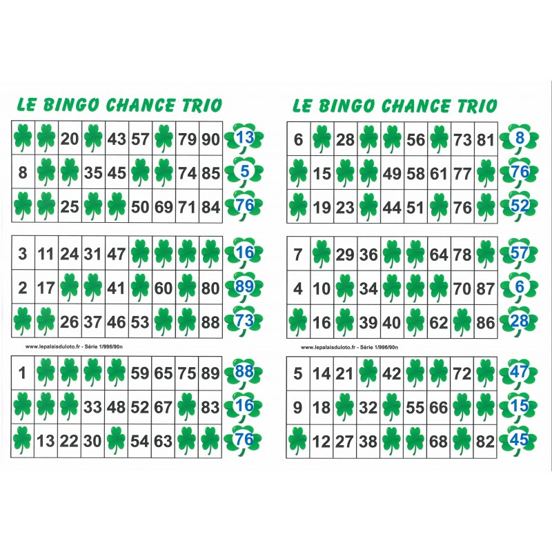 90 Pour Numéros Grilles Votre Chance Bingo Le 6 Trio Numéros Et Loto