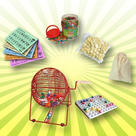 Le Pack Loto du Palais du Loto avec un boulier de loto professionnel, des cartons de loto, une boîte de pions de loto, un sachet