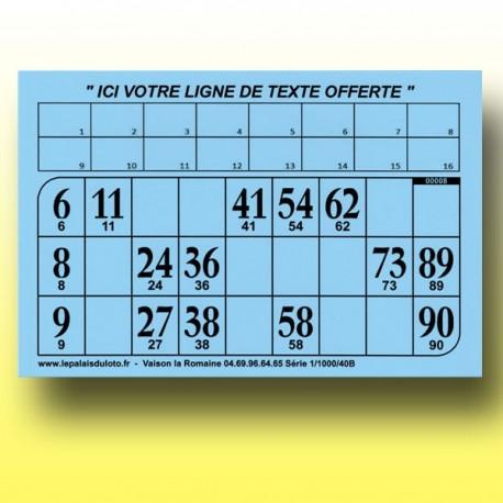 Au Palais du Loto, 1000 cartons de loto rigides 1 mm - 900 g à tamponner
