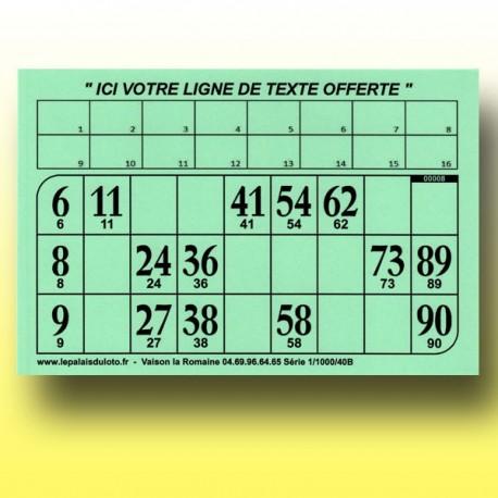 Au Palais du Loto, 1000 cartons de loto très épais 2 mm - 1300 g à tamponner