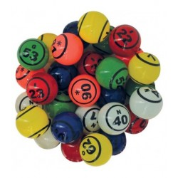 90 balles loto multicolores Ø 38 mm